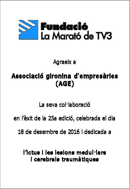 AGE Girona, diploma Marató TV3 2016